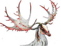 "Sketch design for different deer masks, Halloween. One of two special ""costumes""- Zombie deer"