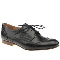 Schuh Black Mel Lace Brogue Flats