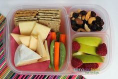 Biting The Hand That Feeds You: MOMables Monday - Fruit and Cheese Bistro Box crackers and cheese added some cashews to the almond-cranberry mix, more apples plus some raspberries, and a side of veggies. Yum!