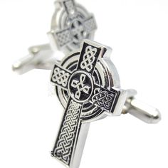 a8898f21d59 Sliver and Black Celtic Cross Cufflinks