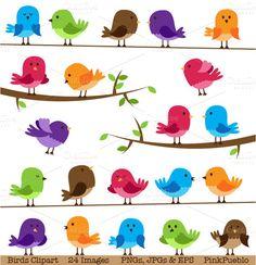 Illustrations ~ Cute Birds Clipart and Vectors by PinkPueblo ~ Creative Market