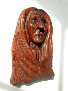 Native American Indian Wood Carvings   Native American Indian Wood Sculpture of Curley Bear Wood carving By ...
