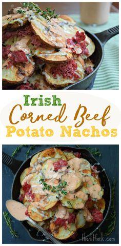 Irish Corned Beef Potato Nachos make a fun St. Patrick's Day appetizer or easy weeknight meal. Healthy Beef Recipes, Corned Beef Recipes, Real Food Recipes, Easy Recipes, Yummy Food, Irish Recipes, Irish Desserts, Irish Meals, Irish Nachos