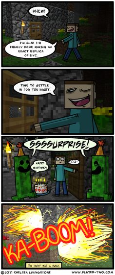 Having a blast at a Minecraft party... Literally...
