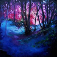 ARTFINDER: woodland by Helen Shepherd - Vibrant impressionistic oil painting in shades of blue and pink. A scene from my local woodland bathed in bright summer evening light.