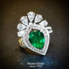 Colombia Pear shape Emerald Ring ✌#emerald #diamonds #ring #primagems#beautiful #jewelry #gemstone @primagems_official