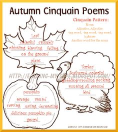 Autumncinquainpoemscompleted Free Fall Unit Study Ideas For Older Kids Too