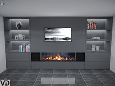 Best fire place wood storage cabinets Ideas in 2020 Living Room Wall Units, Open Plan Kitchen Living Room, Living Room Goals, Home Living Room, Living Room Designs, Living Room Decor, Fireplace Tv Wall, Basement Fireplace, Modern Fireplace