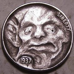 John Hughey - Funhouse Demon Freaky Face Hobo Nickel, Cool Face, Antique Coins, Jewelry Collection, Cactus, Weird, Carving, Antiques, Art
