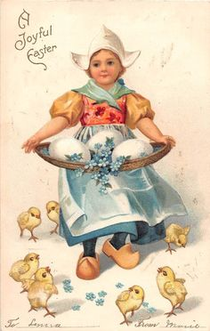 Dutch Child & Easter Eggs with Chicks Holiday Greeting Antique Postcard P2627