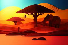 Feel the heat. Layered 3D Paper Savanna Landscape by Nick Meeuws. Uses colors and gradations to feel the heat of the desert sun.