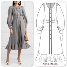 I am happy to see that you loved the dress in the last post. is a new to me designer and I love her style so here is another dress that she designed call the Phoebe Stripe cotton drill midi dress made out of cotton. Dress Design Sketches, Fashion Design Drawings, Fashion Sketches, Dress Designs, Dress Patterns Uk, Fashion Drawing Dresses, Most Beautiful Dresses, Dress Drawing, Fashion Line