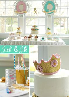 Jack & Jill-themed dessert table in pink, aqua and gold: opted for a more nutritional dessert buffet loaded with organic fruit, muffins in leu of cupcakes, organic gluten free push up pops and nutri-grain cereal bars in addition to the ever so popular chocolate chip cookies and vanilla cake pops.