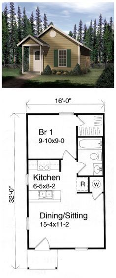#Tiny #HousePlan 49132 has 448 sq ft of living space and measures 16' by 32' with 1 bedroom and 1 bathroom. This vacation cottage is the perfect house plan for a weekend retreat. The dining/sitting area provides flexible living space. The functional kitchen serves the dining area with ease.