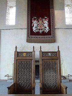 Great Royal Hall thrones, Stirling Castle, Stirling, Scotland, UK