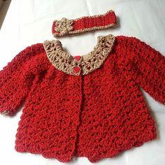 bizzybee_crochet_creations Baby cardigan and headband set...crochet with a soft and silky glittery shimmery red/gold wool...3-6m  #babyclothing #babygifts #nowborngift #newbaby #gift #yarn #wool #crochet #crochetneedle #crochetdesigns #babyaccessories #babyshower #blankets #hats #instacrochet #instapic #picoftheday #photogrid #crochetcreations