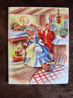 Vintage Christmas Card Old Fashioned Couple Girl Cooking Dinner in Fireplace