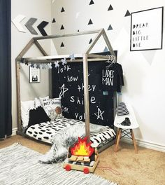 Diy kids teepee bed tent 50 new ideas Toddler Floor Bed, Toddler House Bed, House Beds For Kids, Toddler Bedding Boy, Montessori Toddler Rooms, Teepee Bed, Ideas Hogar, Baby Boy Rooms, Kids Rooms