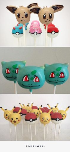 These Pokémon Cake Pops Are About to Make Your Child's Dessert Dreams Come True (Pokemon Cake Pops) Pokemon Torte, Pokemon Cake Topper, Pokemon Cakes, Pokemon Pokemon, Pokemon Themed Party, Pokemon Birthday, 6th Birthday Parties, 8th Birthday, Cake Pop Decorating