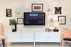 Gallery Wall Incorporates Mounted TV | HGTV