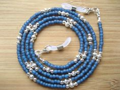 Bead Jewellery, Wire Jewelry, Beaded Jewelry, Beaded Necklace, Beaded Lanyards, Eyeglass Holder, Blue And Silver, Eyeglasses, Jewelry Accessories