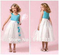 2015 Cheap Cute Round Neck Blue And White Cinderella Flower Girls Dresses Patterns For Wedding FG010