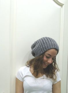 GRAY SLOUCHY BEANIE hatunisexHand knitted beanie by MARYsworks, $33.00