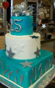 Silver and Blue - Silver and Blue quinceanera cake cover in buttercreme