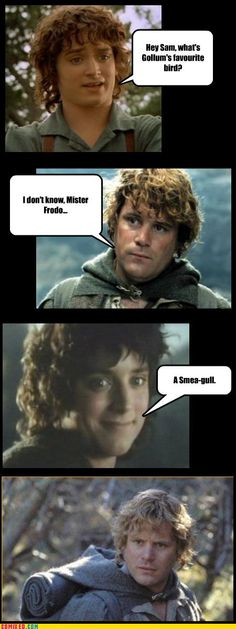 Punnery Punnery. Whenever I see lord of the rings stuff I think of you! :) @jessica west
