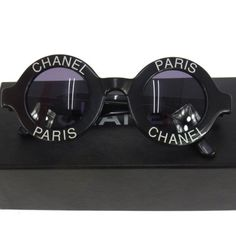 $9,999.00 ULTRA-RARE-AUTH-CHANEL-CC-ROUND-FRAME-VINTAGE-SUNGLASSES-BLACK-EYE-WEAR-AK00297