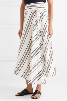 APIECE APART - Rosehip Asymmetric Striped Linen And Silk-blend Wrap Midi Skirt - White