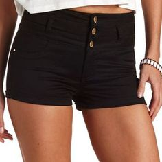 Refuge Colored High-Waisted Shorts by Charlotte Russe - Black