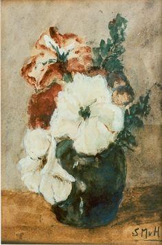 Sina 'Sientje' Mesdag-van Houten Groningen 1834-1909 Den Haag Stilleven, aquarel op papier 27 x 17.5 cm., gesigneerd r.o. met monogram