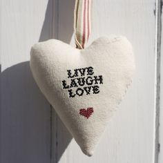 "Cross Stitch Heart - ""Live Laugh Love"" Cross Stitch Needles, Cross Stitch Heart, Cross Stitch Patterns, Live Laugh Love, Plastic Canvas Patterns, Needlepoint, Dyi, Wisdom, Embroidery"