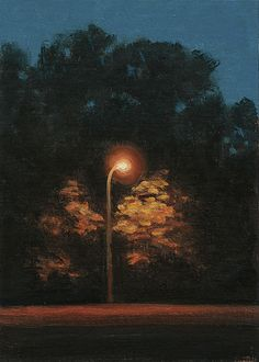 """Stephen Magsig ~ """"Citylights"""" ~ This urban landscape painting is nocturne of trees along Woodward Ave under the glow of a city light (Detroit)"""