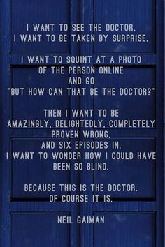 Neil Gaiman on the Doctor.