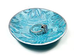 Always & Forever Ring Holder polymer clay Bowl por BeadazzleMe