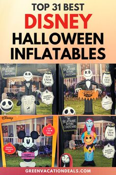 If you can't visit Mickey's Not So Scary Halloween Party at Magic Kingdom in Disney World this year, then bring Disney to your house with these Disney Halloween inflatables! Great Halloween decorations for your yard. Themed to Star Wars, Mickey Mouse, Minnie Mouse, Lion King, Frozen, Nightmare Before Christmas, etc #Disney #Halloween #BabyYoda #TheChild #StarWars #NightmareBeforeChristmas #JackSkellington #TheMandalorian #Mandalorian #ToyStory #Frozen #Disneyfan #HalloweenDecor #MickeyMouse… Walt Disney World Vacations, Disney Resorts, Disney Trips, Spirit Halloween, Scary Halloween, Halloween Party, Disney World With Toddlers, Disney Halloween Decorations, Halloween Inflatables