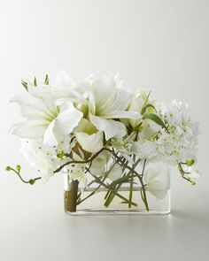 John Richard Collection Faux Watergarden Arrangement - Handcrafted blooms are arranged in a clear glass vase with acrylic water.
