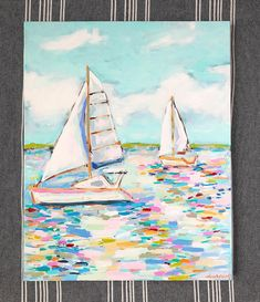 This particular photo is surely an inspiring and extraordinary idea Small Canvas Paintings, Seascape Paintings, Canvas Art, Sailboat Art, Sailboat Painting, Sailboats, Diy Wall Art, Diy Art, Painting Inspiration