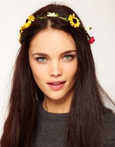 River Island Multi Floral Garland Head Band With Dangle Floral