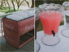 vintage coke cooler and drink station
