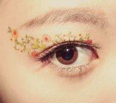 1 Pair Fake Eye Temporary Tattoo Makeup Eyeshadow Eyeliner Flowers Nature Garden Dancer Stage Masquerade Cocktail Valentines Gift Party