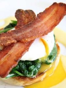 Eggs benedict with spinach and vanilla hollandaise....One day, I will make hollandaise