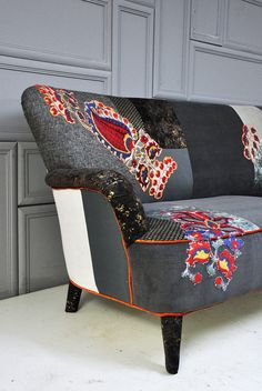 Articles similaires à RESERVED ITEM for KSENIA: gray & brown patchwork sofa sur Etsy