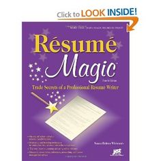 Resume Magic is a giant compendium of advice and before-and-after resume transformations explains resume creation and illustrates professional techniques with actual examples that show why the techniques work.