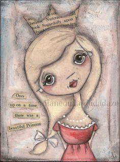 Original Angel Painting on Wood by Diane Duda Beautiful Princess ©dianeduda/dudadaze