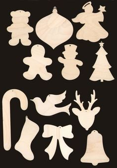 12 Piece Christmas Assortment Natural Craft Wood by TexasArtCraft, $10.99