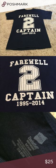 """Derek Jeter Shirt Navy blue T-Shirt made for Derek Jeter's retirement. The front says """"Farewell Captain"""" with his number, 2 and his dates active (1995-2014). The back says """"RE2PECT"""" (the moto for him specially) with some of his stats. Size small. 100% cotton. This shirt runs a bit small! Perfect condition! Tops Tees - Short Sleeve"""