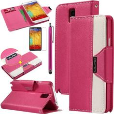 Pandamimi ULAK(TM) Luxury PU Leather Wallet Flip Pouch Case Stand Cover For Samsung Galaxy Note 3 N9000 W/Screen Protector 1xTouch Stylus (Rose Red/White) ULAK http://www.amazon.com/dp/B00G45PVAE/ref=cm_sw_r_pi_dp_UBGkub0N2KJDF